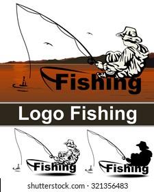 Fishing sport logo, vector, hunting