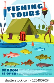 Fishing sport tour, vector fisher and fish. Fisherman standing with rod near camp with boat and tent, backpack and campfire pot, boots and baits. Herring and trout, catfish and carp