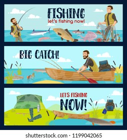 Fishing sport tours or fisherman tackles and equipment shop. Vector cartoon fisher man in rubber boat on lake or sea with rod for fish catch