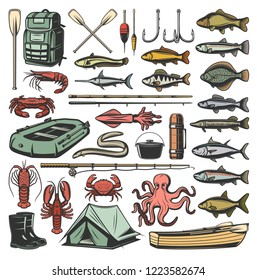 Fishing sport vector icons, ammunition and fish. Vector backpack and paddle, hook and bait, rod and boat, camping tent and rubber boots, crayfish and crab, octopus and salmon, trout and perch, eel