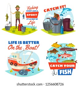 Fishing sport vector icons with fisherman, fish and boat. Fisher with rod, net and bucket full of salmon, perch and bass, trout, carp and bream. Fishing tour, fishery industry and hobby theme