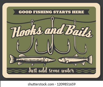 Fishing store advertisement retro poster, rod hooks and baits, big fish catch. Vector fisherman tackles. Pike, salmon or carp fishery and sport adventure. Vintage signboard