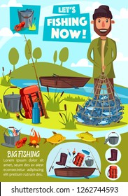 Fishing tackles and fish catch lures. Fisherman with salmon or trout in net, vector cartoon camping tent and fishery equipment rods, boat on lake and bowler with haversack