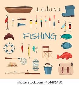 Fishing tools illustration. Fishing hook vector set. Fishing symbols, vector icons: life ring, chair, hat, bag, boat, knife, net, boots. Items fishing hook, tackle, bait, reel, anchor, bucket.