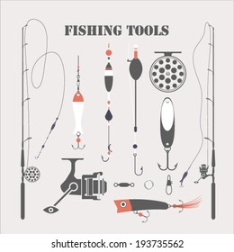 Fishing tools, stock vector