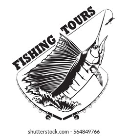 Fishing tour emblem of marlin. Fish logo isolated on white vector illustration.  Can be use for sport team design.