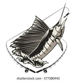 Fishing tour emblem of marlin. Fish logo isolated on white vector illustration.