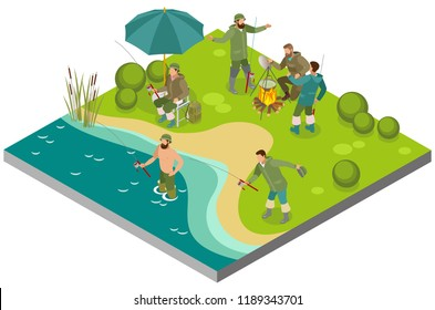 Fishing tourism isometric composition with fishers near bonfire and during catching on bank river vector illustration