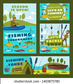 Fishing tournament, big fish catch season and fisher tackles and baits shop discount posters. Vector fisher man with rod in boat catching carp, pike or sheatfish and salmon in sea or river