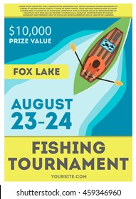 Fishing tournament flyer or poster with fisherman in kayak, top view, with fish trophy. Vector illustration. Flat style.