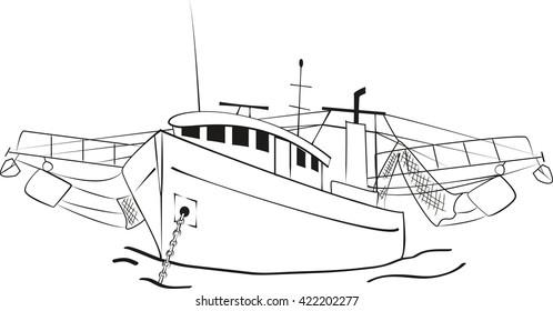 Fishing trawler at anchor