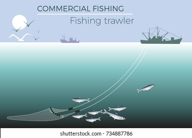 Fishing trawler in the sea. Vector illustration