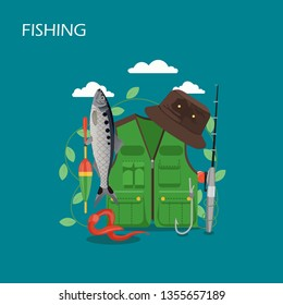 Fishing vector flat style design illustration. Fisher vest and hat, fishing rod, bobber, fish and bait worm. Fisherman clothing and fishing gear composition for web banner, website page etc.
