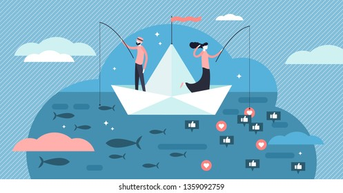 Fishing vector illustration. Flat social media like catch persons concept. Outdoors seafood hobby and symbolic followers marketing comparison analogy. Marketing audience and underwater life searching.