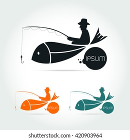 fishing vector logo design template. fisherman, fisher, fish or angling,sport icons on white background Vector illustration