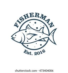 Fishing vector logo design template.