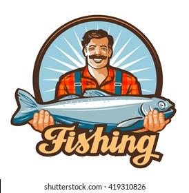 fishing vector logo. fisherman or fish icon