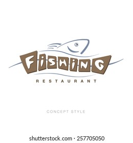 fishing vector logo. Restaurant bar. Sample design concept. vintage style