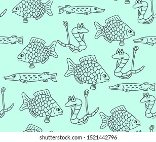 Fishing vector seamless pattern with funny handwritten worms on the fishing hooks and fish