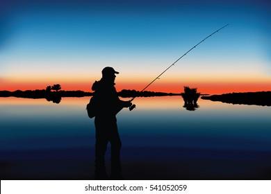 Fishing vector. Silhouette of fisherman.