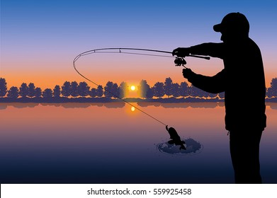 Fishing vector. Silhouette of fisherman on sunset background
