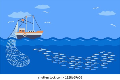 fishing vessel catches school  fish. commercal fishing. vector illustration.