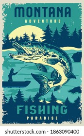 Fishing vintage poster with big pike and fisherman on boat silhouette on forest and moon landscape vector illustration