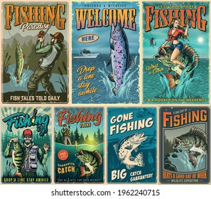 Fishing vintage posters composition with fishermen rainbow trout pike bass fishes pretty woman holding fishing rod and sitting on perch vector illustration