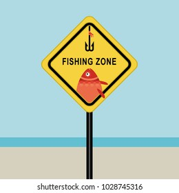 Fishing zone sign, fishhook