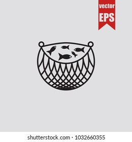 Fishnet icon Seine in trendy isolated on grey background.Vector illustration.