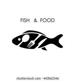 Fish,spoon,fork and knife icon.Fish & food logo design vector icon.Fish & food restaurant menu icon.Vector Illustration