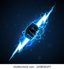 Fist with blue lightning illustration