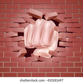 Fist breaking through a brick wall