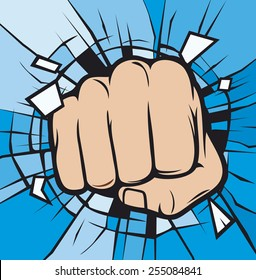 fist breaking through glass