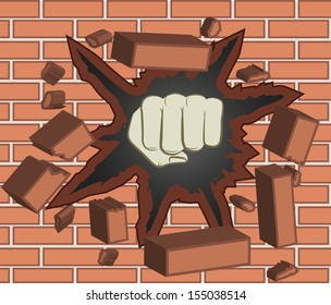 Fist breaking through red brick wall