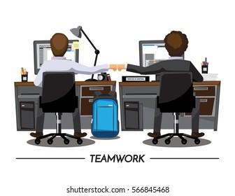 Fist Bump Colleagues Collaboration Teamwork Concept ,Vector illustration cartoon