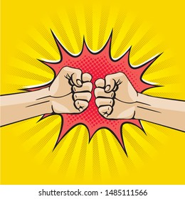 Fist Bump Comic Cartoon Style Creative Concept with Two Hands Clenched into Fists Punching Each Other Rays Circle and Speech Bubble - Black and Red on Yellow Background - Vector Hand Drawn Design