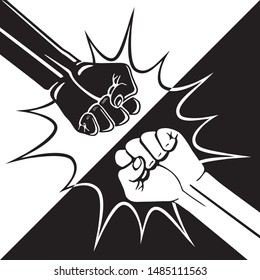 Fist Bump Diagonal Yin Yang Style Creative Concept with Two Hands Clenched into Fists Punching Each Other and Bang Bubble - Black and White on Opposite Background - Vector Hand Drawn Design