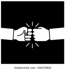Fist bump. Friendship sign. Black and white hand shake vector illustration.
