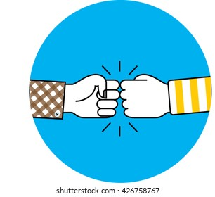 Fist bump icon on blue circle. Hand bump. vector. Friendship illustration.