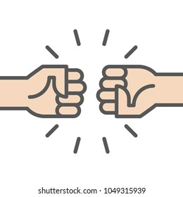 Fist bump icon. Two fists punching. Vector illustration, flat design