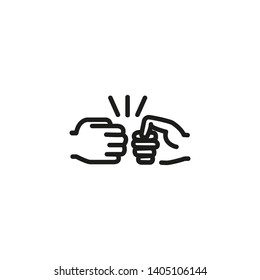 Fist bump line icon. Hands, bro gesture, friends. Friendship concept. Vector illustration can be used for topics like partnership, hello gesture, fight