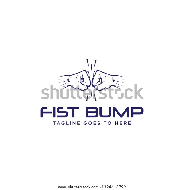 Fist Bump Logo Boxing Friendship Relationship Stock Vector