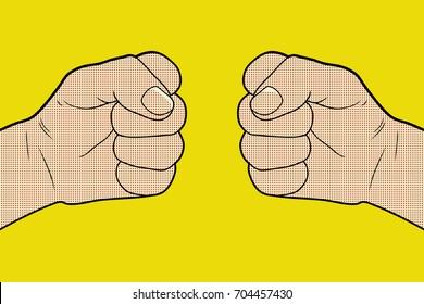 Fist Bump Pop Art. Vector illustration.