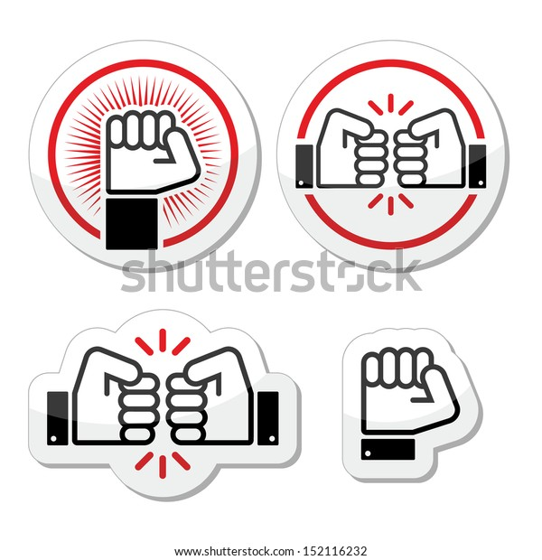 Fist, fist bump vector icons set