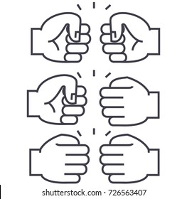 fist bump vector line icon, sign, illustration on background, editable strokes