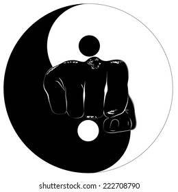 Fist in the center of the eastern symbol of yin and yang,Isolated image of a fist in the center logo,sports emblem