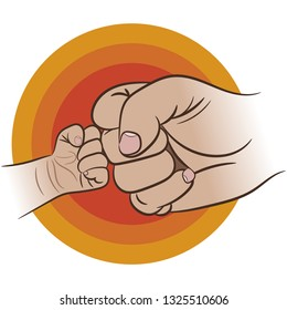 Fist of Dad and Littel Baby. Fathers day. Vector illustration jn white background.
