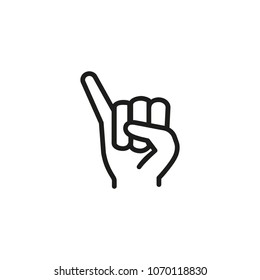 Fist with elongated little finger line icon. Hand, pinky, sign. Gesturing concept. Can be used for topics like communication, promise, cooperation