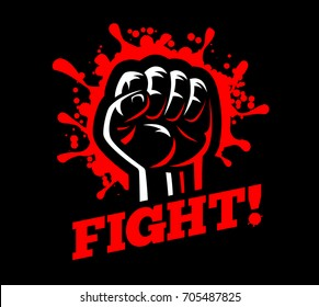 Fist fight red blood spatter emblem poster vector illustration isolated on dark black background